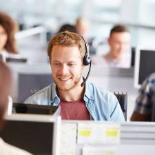 man working in call centre